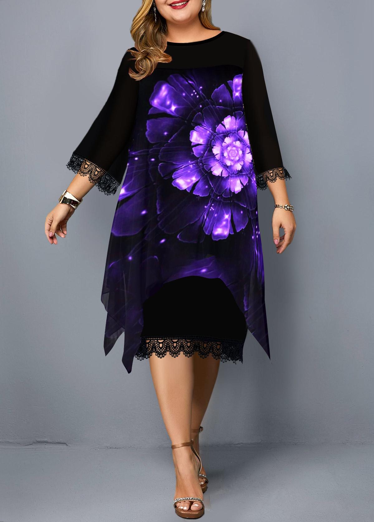 Flower Print Lace Panel Plus Size Dress