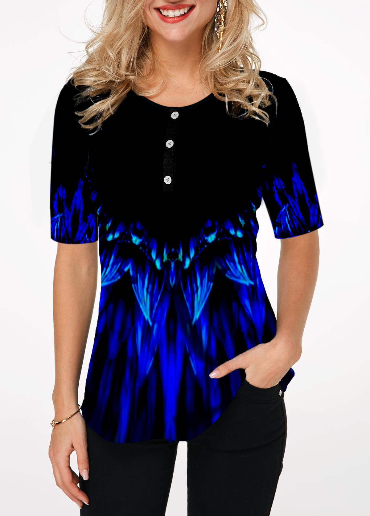 Printed Round Neck Button Detail T Shirt
