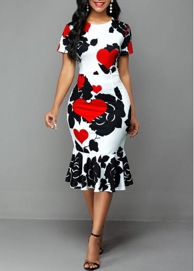 Valentine'S Day Women'S White Rose And Heart Print Short Sleeve Sheath Casual Dress Mermaid Hem Midi Elegant Party Dress By Rosewe - L