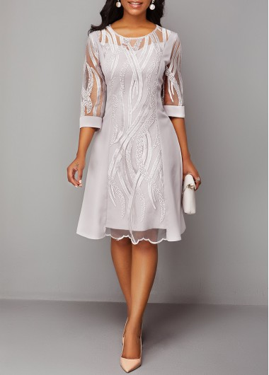 Women'S Silver Illusion Three Quarter Sleeve Lace Panel Cocktail Party Dress Solid Color Zipper Back Round Neck Midi Casual Dress By Rosewe - L
