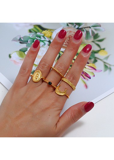 Mother's Day Gifts Gold Metal Moon Shape Ring Set - One Size