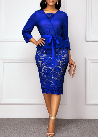 Women'S Royal Blue Lace Three Quarter Sleeve Sheath Cocktail Party Dress Solid Color Belted Midi Elegant Work Dress By Rosewe - L
