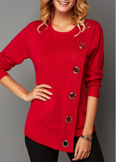 Women'S Red Long Sleeve Asymmetric Hem Sweater  Solid Color Eyelet Detail Tunic Holiday Jumper By Rosewe - L