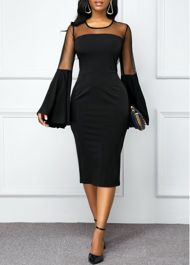 Women'S Black Illusion Cocktail Party Dress Solid Color Flare Long Sleeve Mesh Panel Sheath Elegant Midi Dress By Rosewe - L