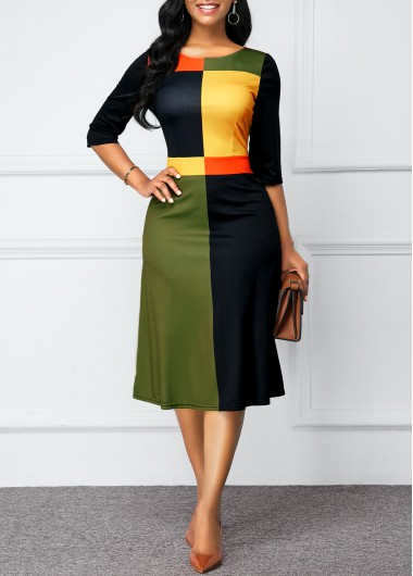 Women'S Color Block Round Neck Three Quarter Sleeve Work Dress Zipper Back Midi Spring Dress By Rosewe - L