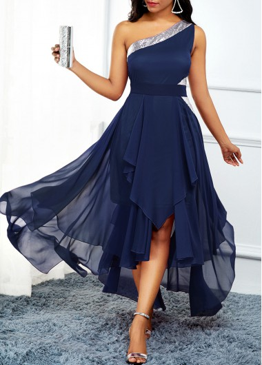 Women'S Navy Blue Chiffon Flowy Cocktail Party Dress One Shoulder Asymmetric Hem Sleeveless Maxi Dress By Rosewe - L