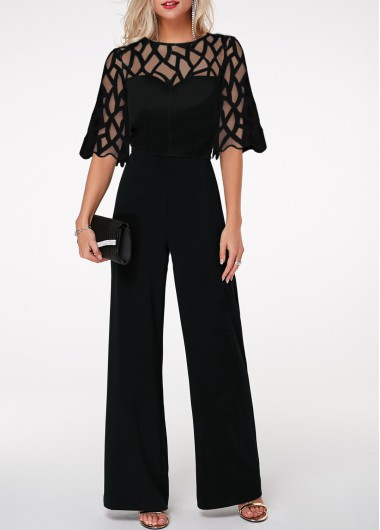 Women'S Black Illusion Formal Wide Leg Jumpsuit Round Neck Scalloped Hem Lace Panel Half Sleeve Jumpsuit By Rosewe - L