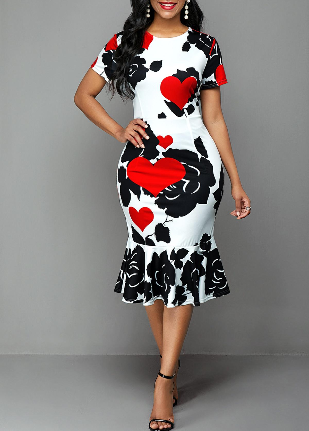 Short Sleeve Rose and Heart Print Dress