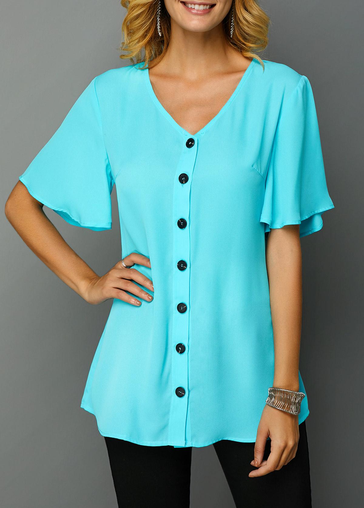 V Neck Short Sleeve Button Up T Shirt