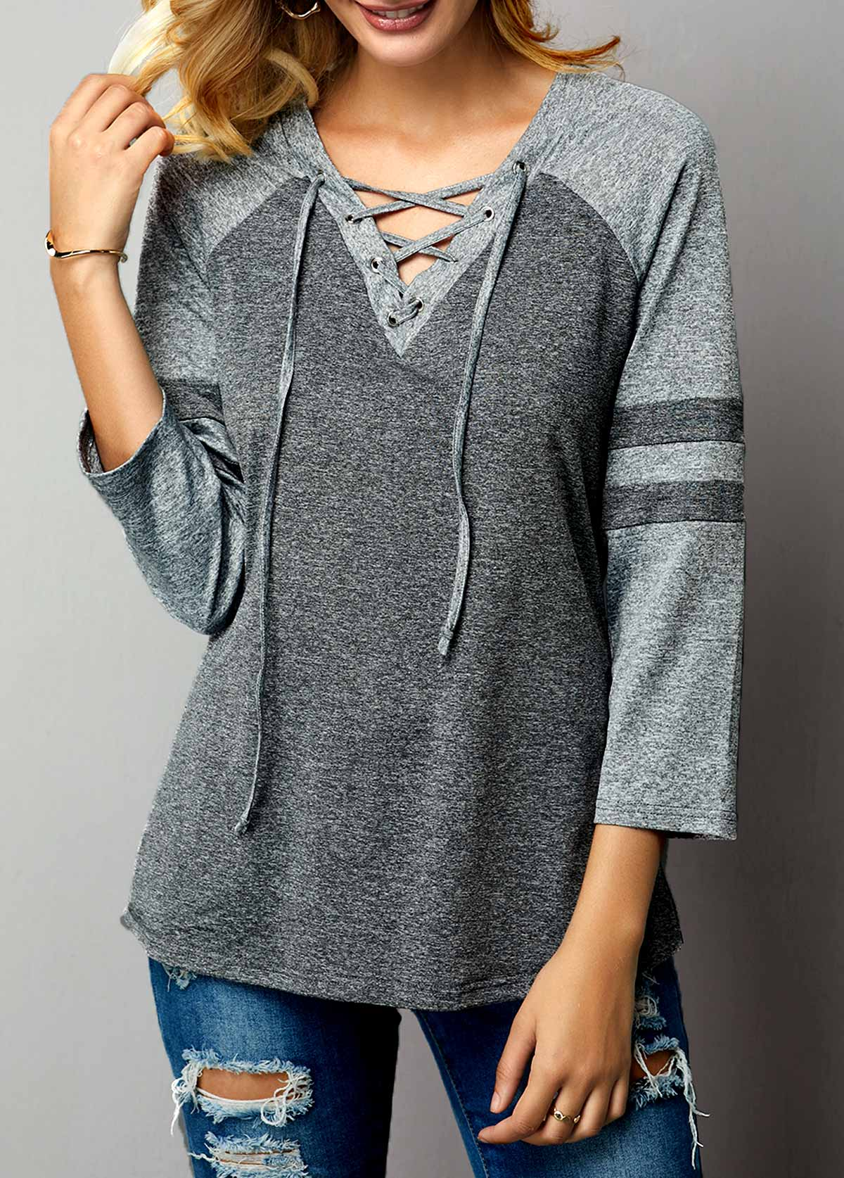 Grey Three Quarter Sleeve Lace Up Front T Shirt
