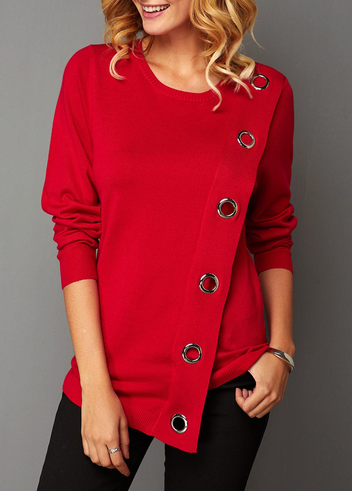 Eyelet Detail Long Sleeve Asymmetric Hem Sweater