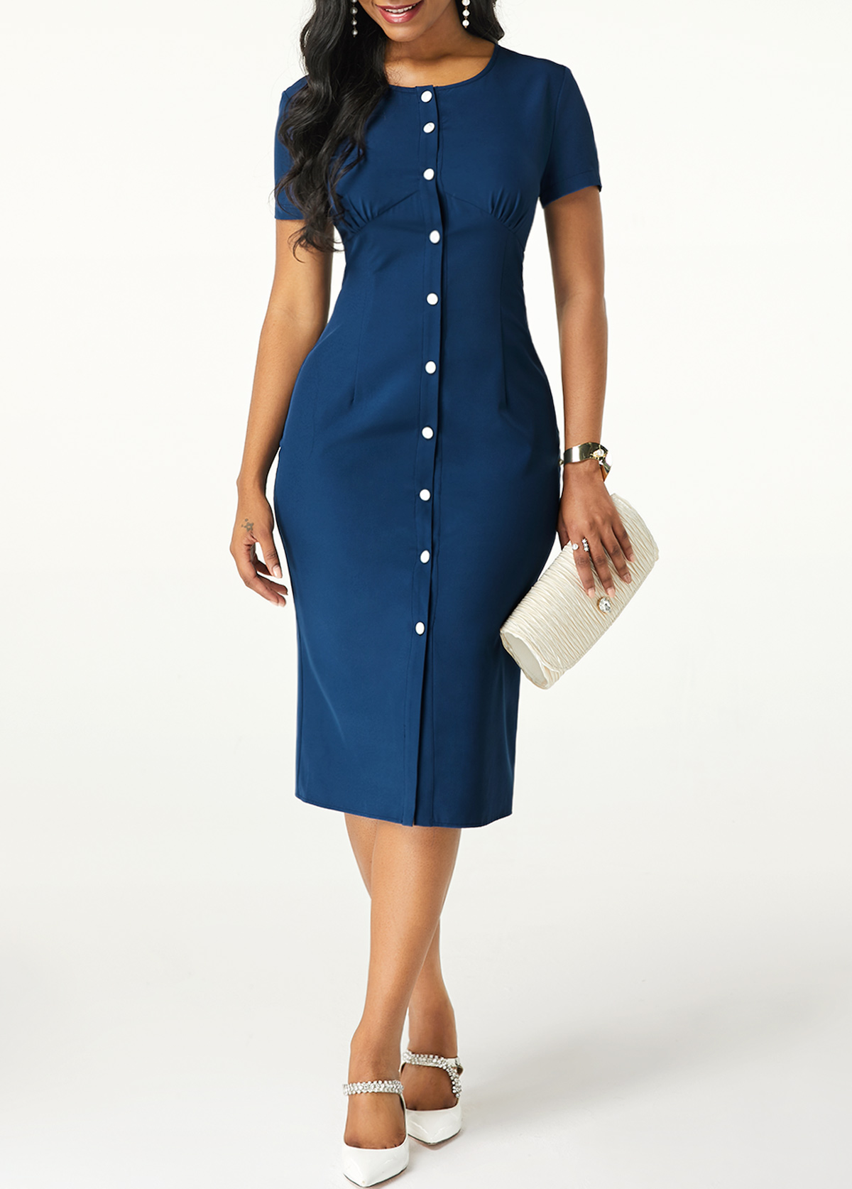 Button Up Short Sleeve Navy Blue Dress