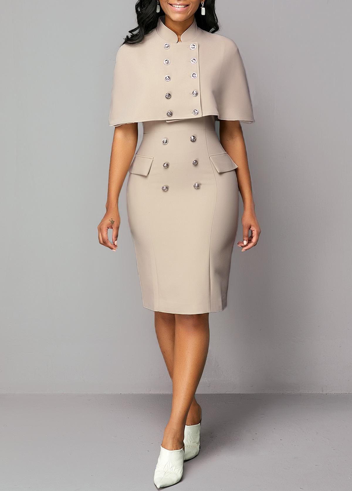 Cap Shoulder Top and Button Detail Back Slit Dress