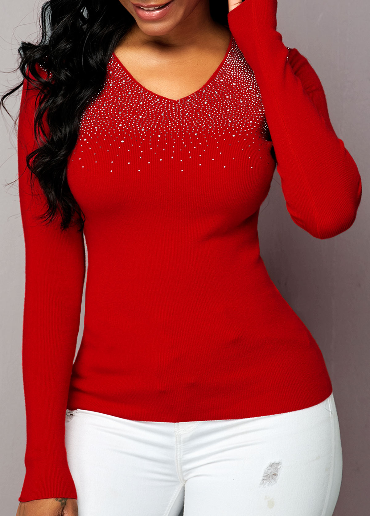 Long Sleeve Rhinestone Detail Red Sweater