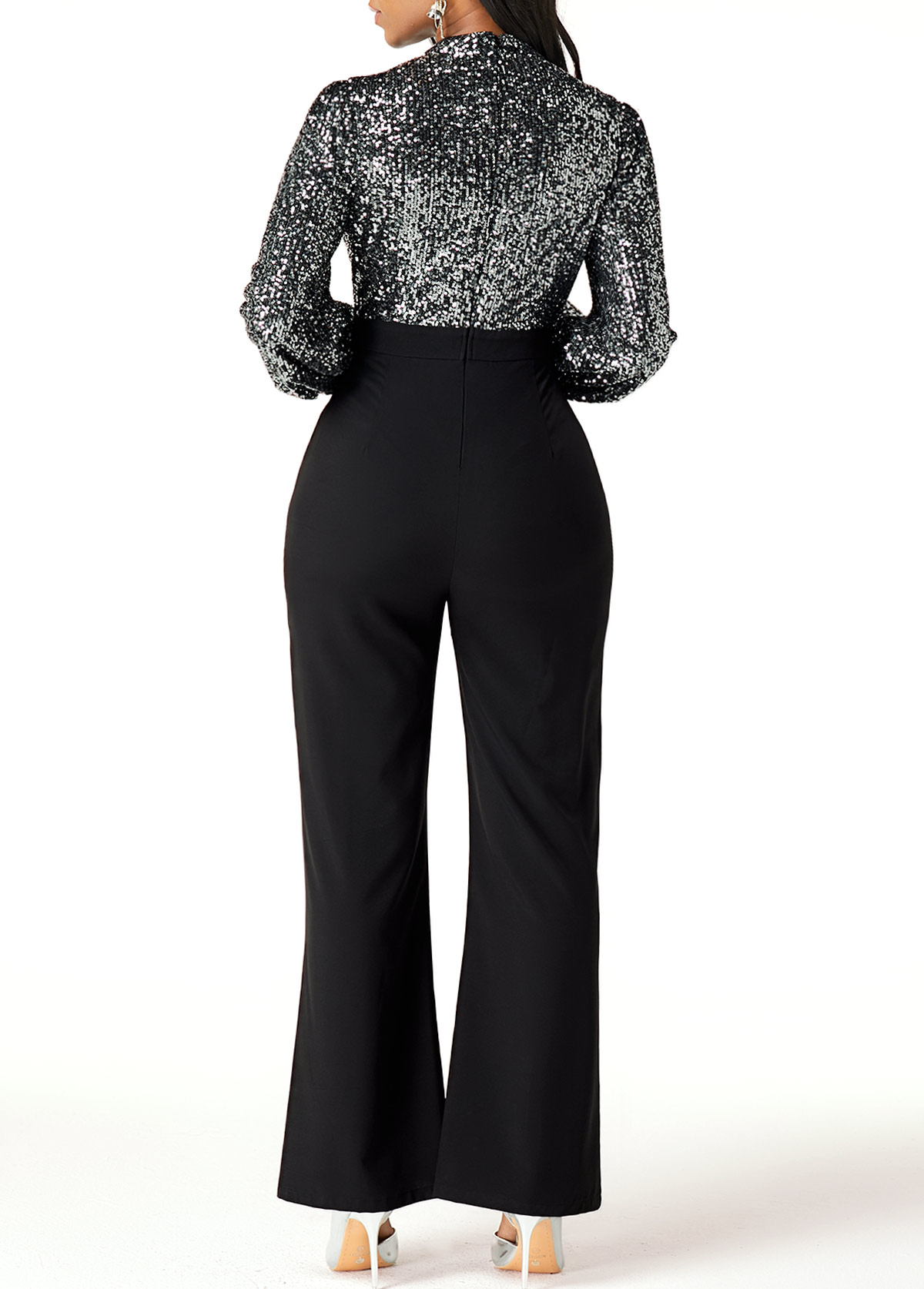 Cutout Front High Waist Sequin Embellished Jumpsuit