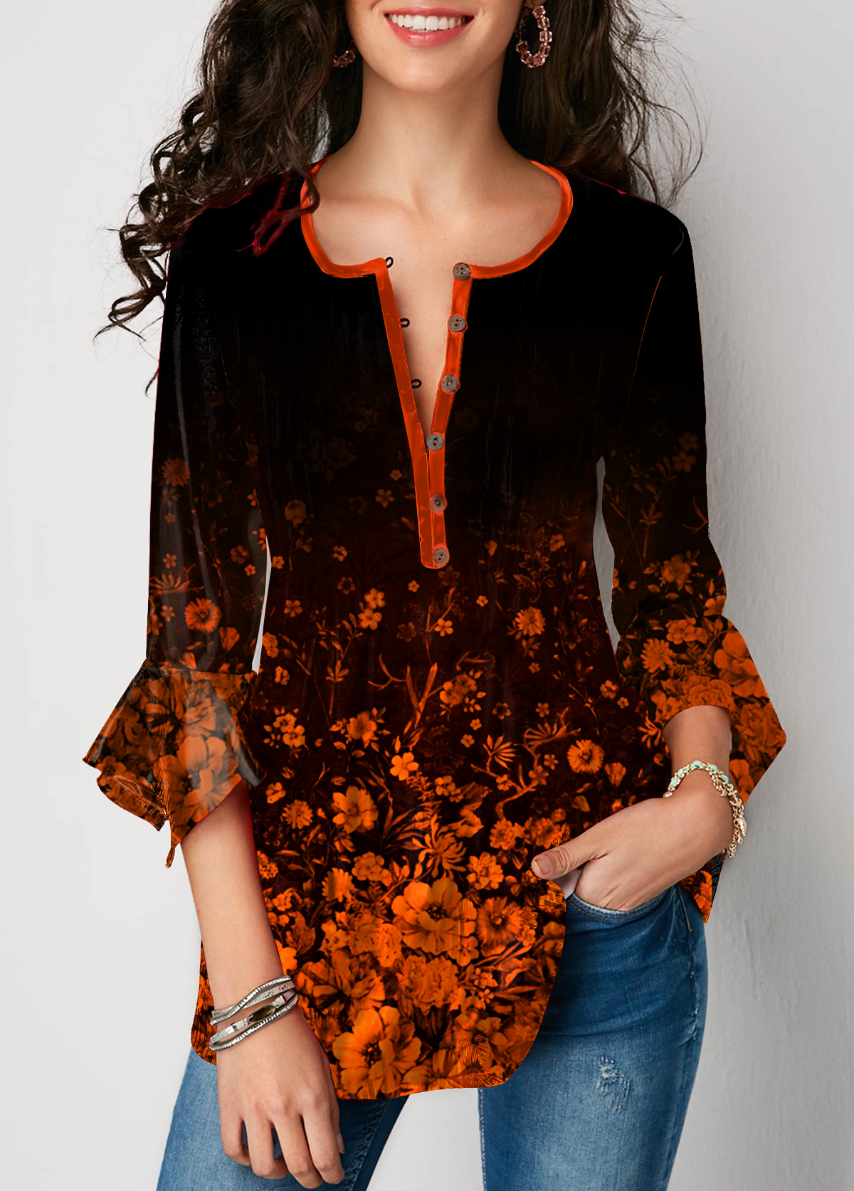 Flare Sleeve Printed Button Front Blouse