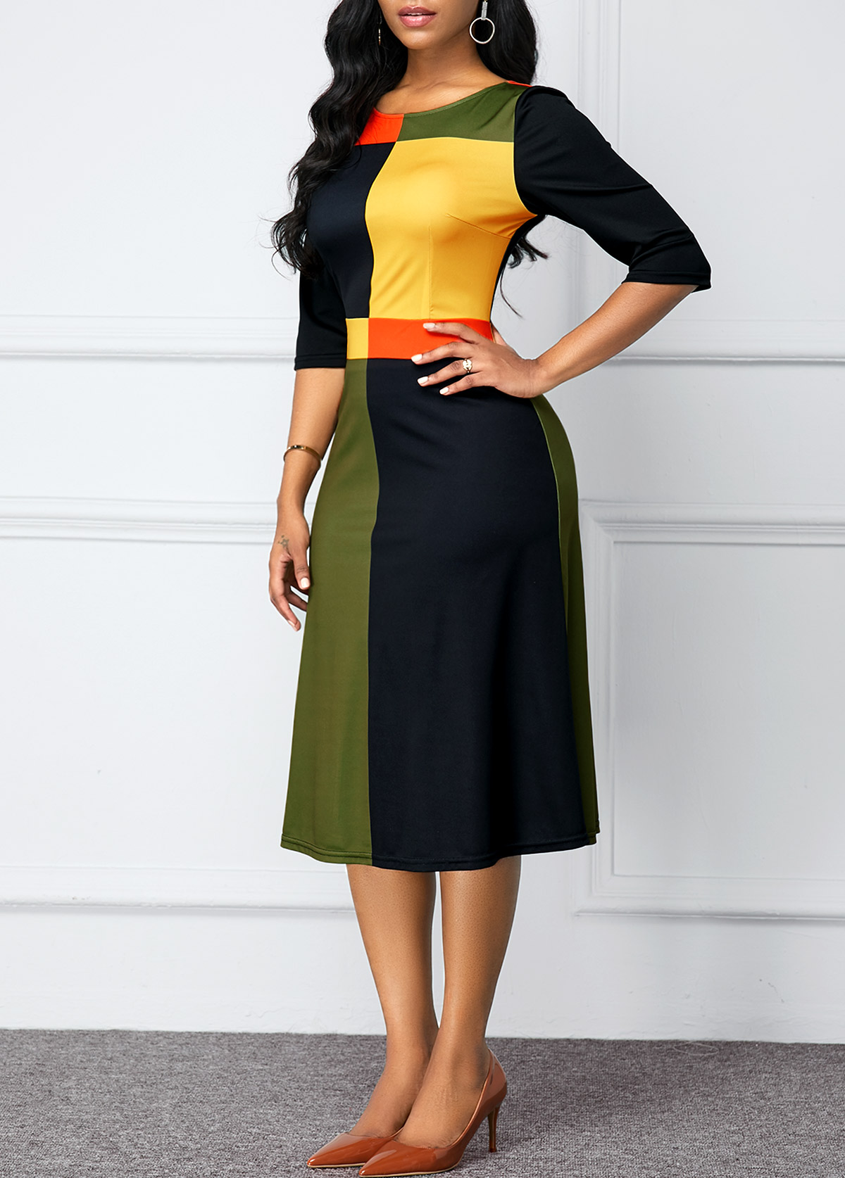 Zipper Back Round Neck Color Block Dress