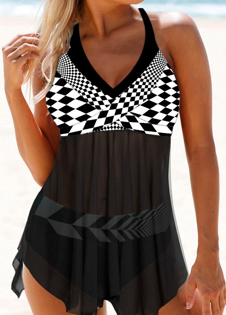 Halter Checkered Print Mesh Panel Swimdress and Panty