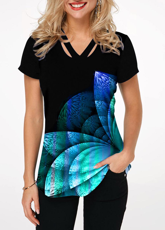 Cutout Front Short Sleeve Printed T Shirt