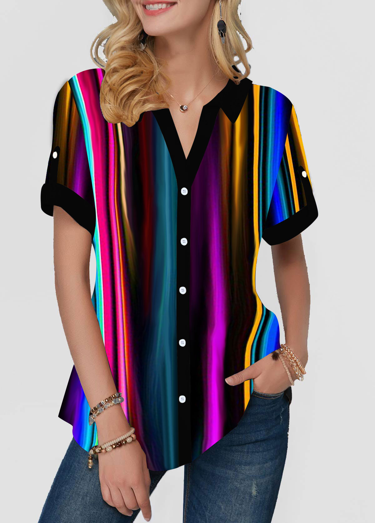 Button Front Multicolor Striped Short Sleeve Blouse