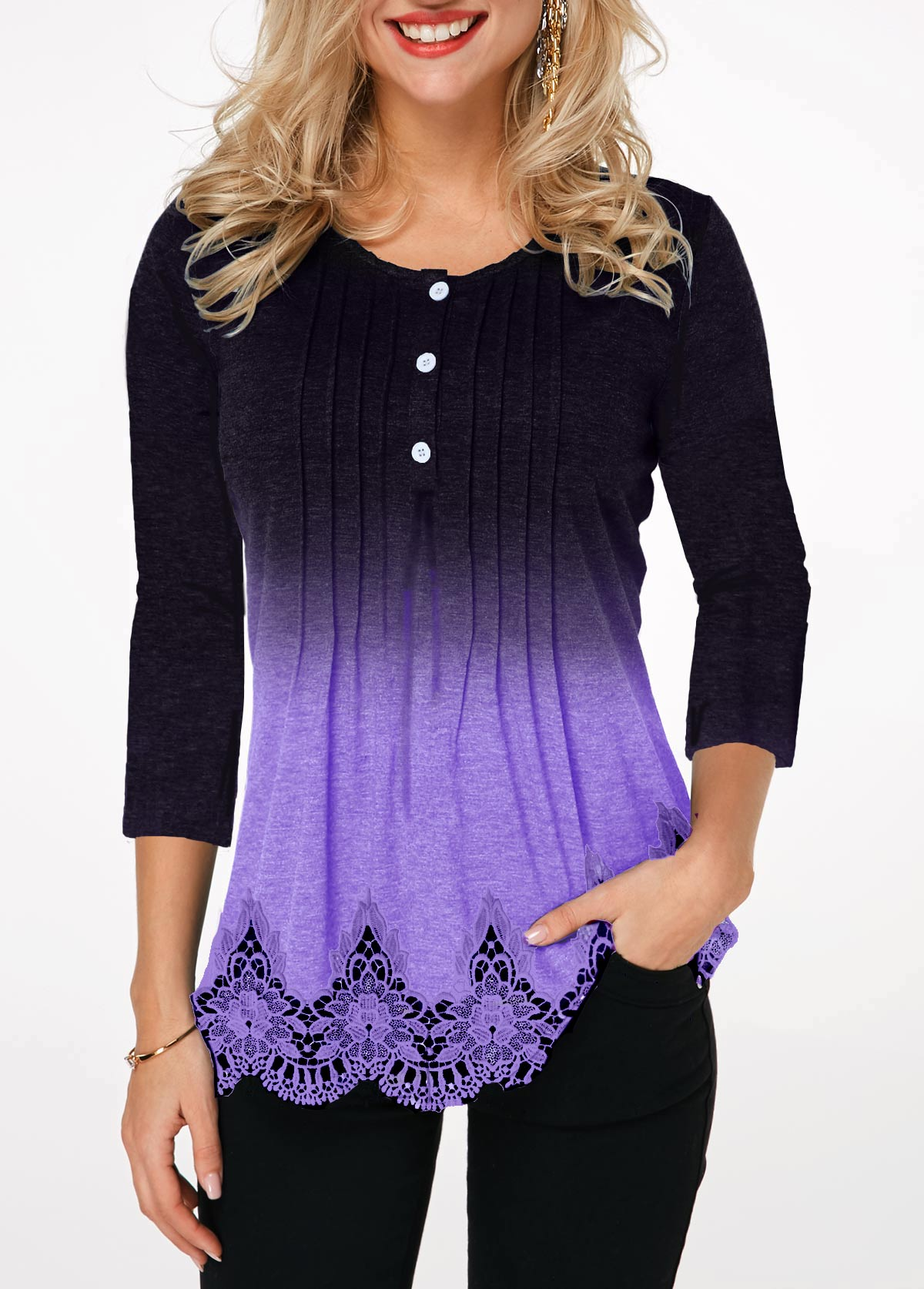 Crinkle Chest Lace Panel Button Detail T Shirt