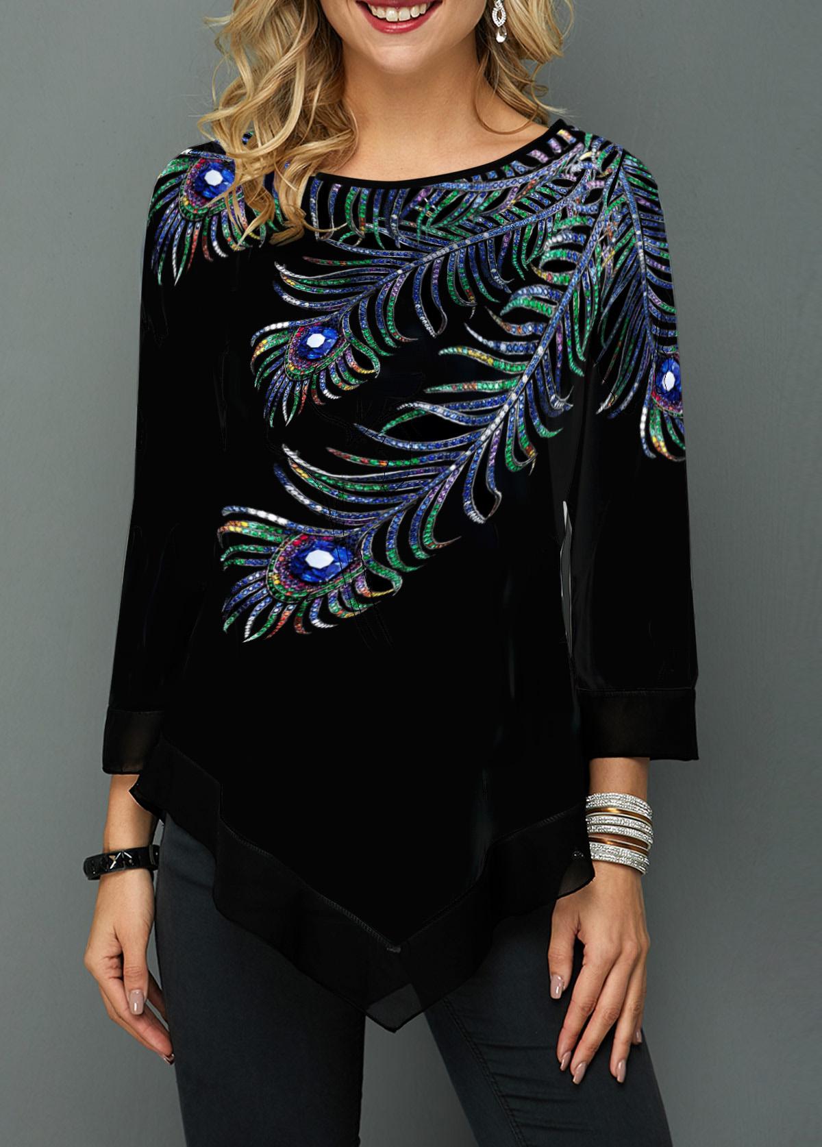 Three Quarter Sleeve Peacock Feather Print T Shirt