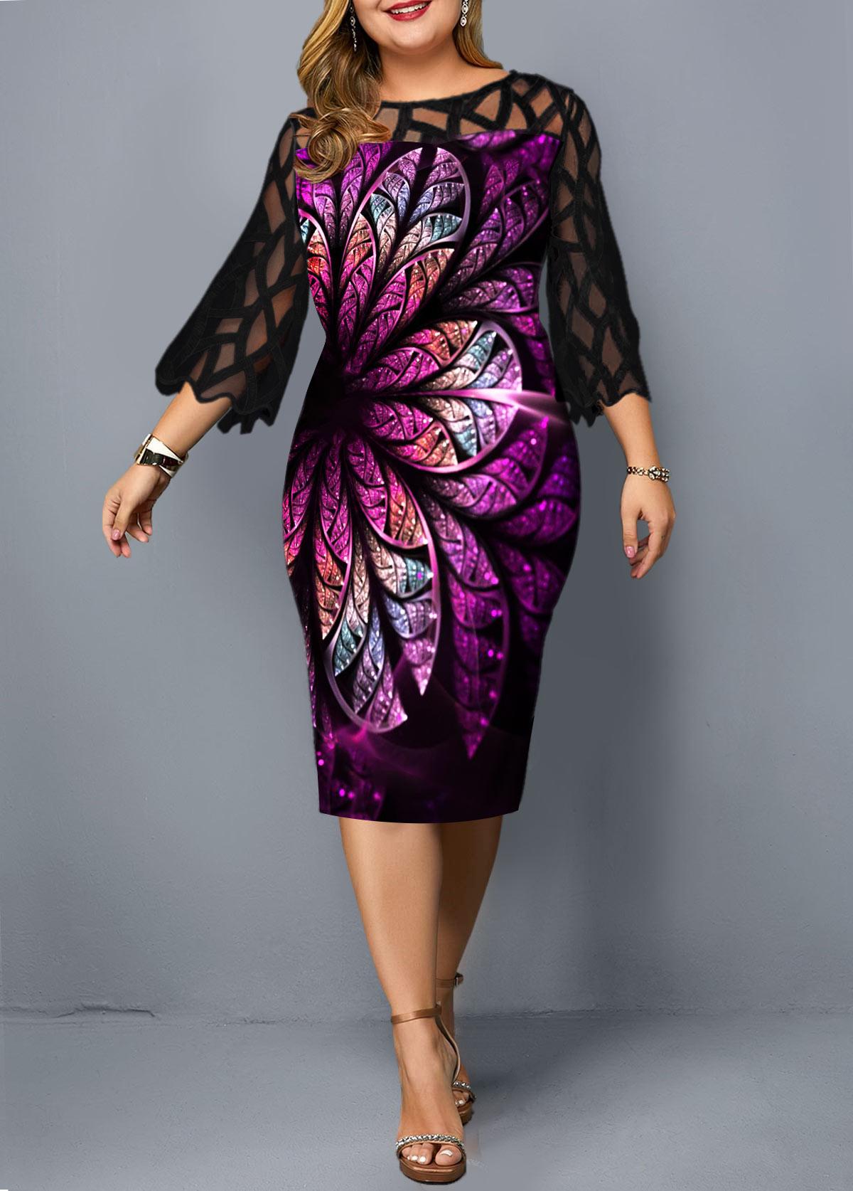 Round Neck Flower Print Plus Size Sheath Dress