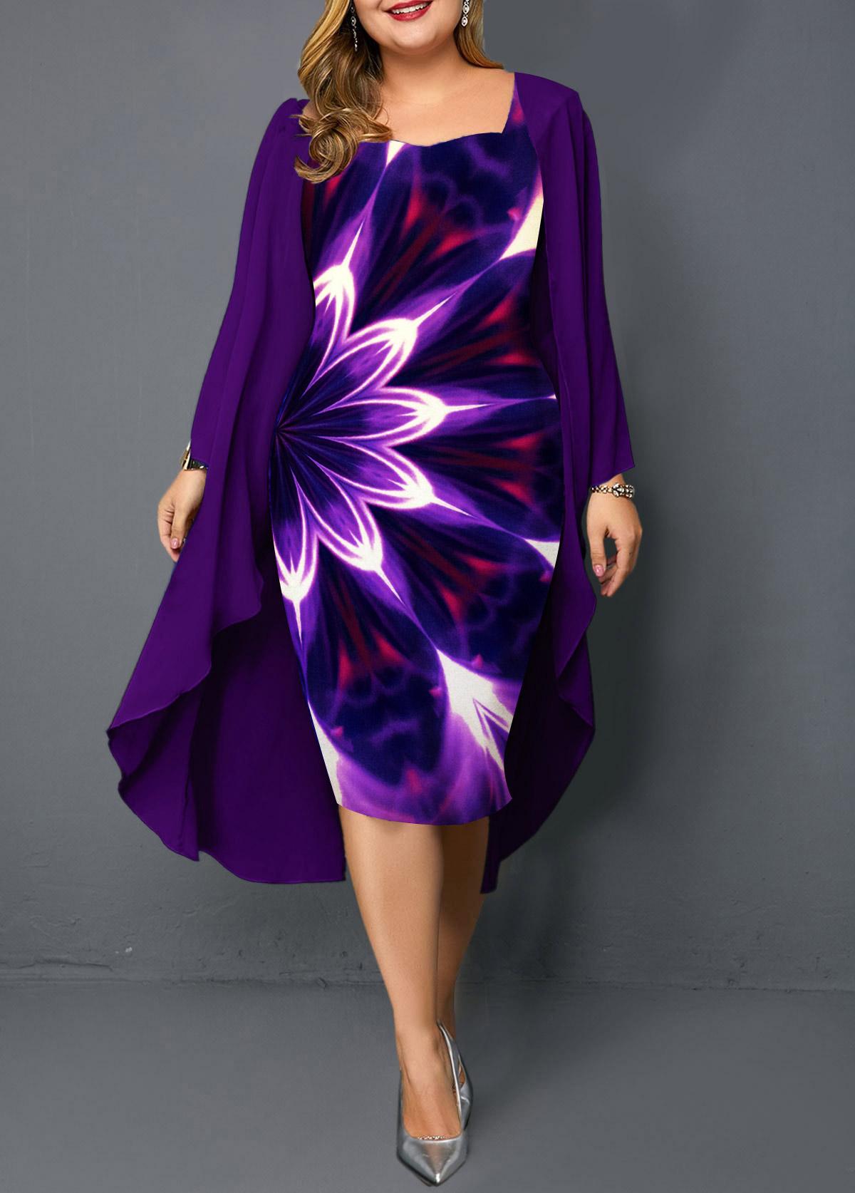 Printed Chiffon Overlay Plus Size Dress