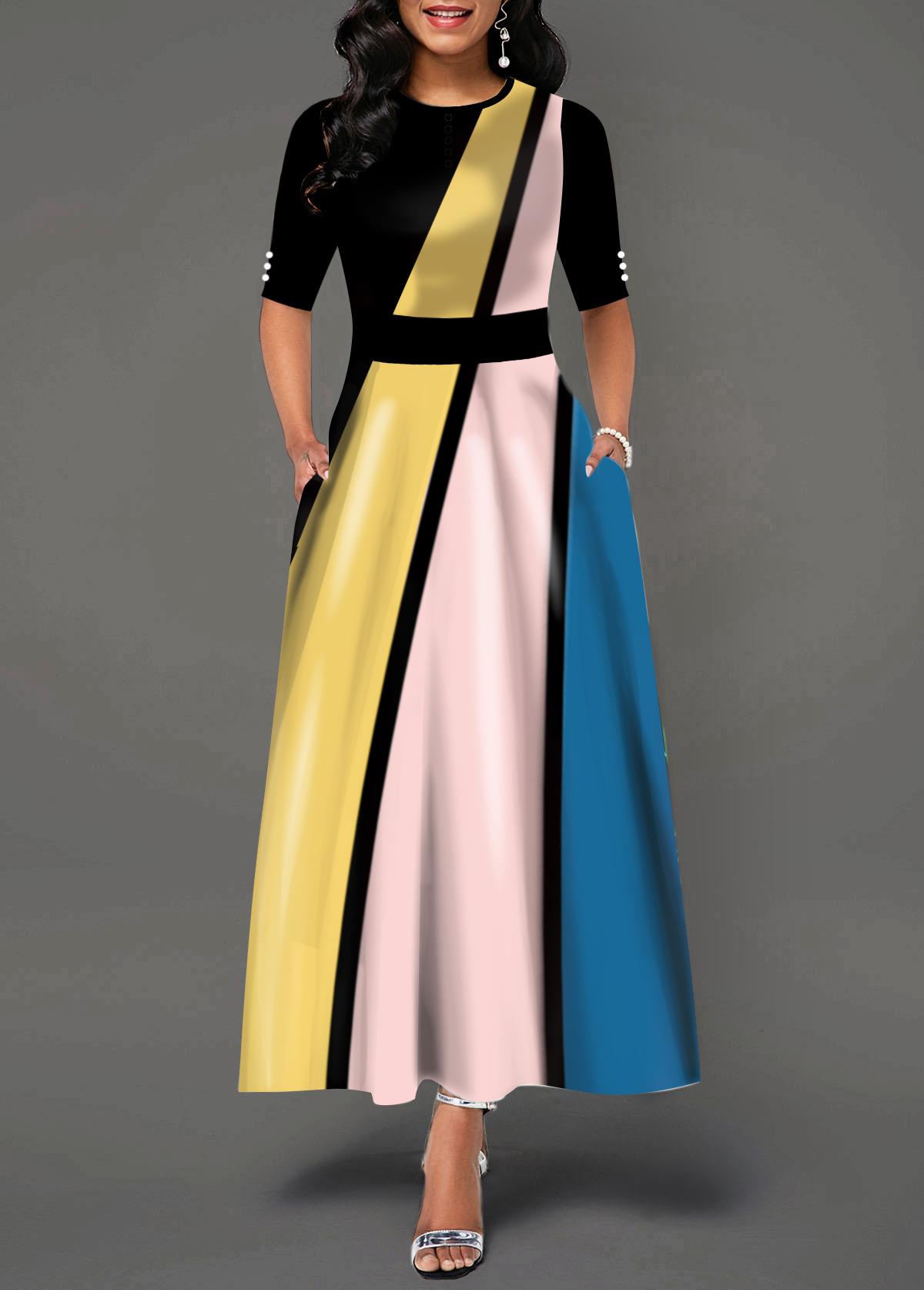 Half Sleeve Round Neck Color Block Maxi Dress