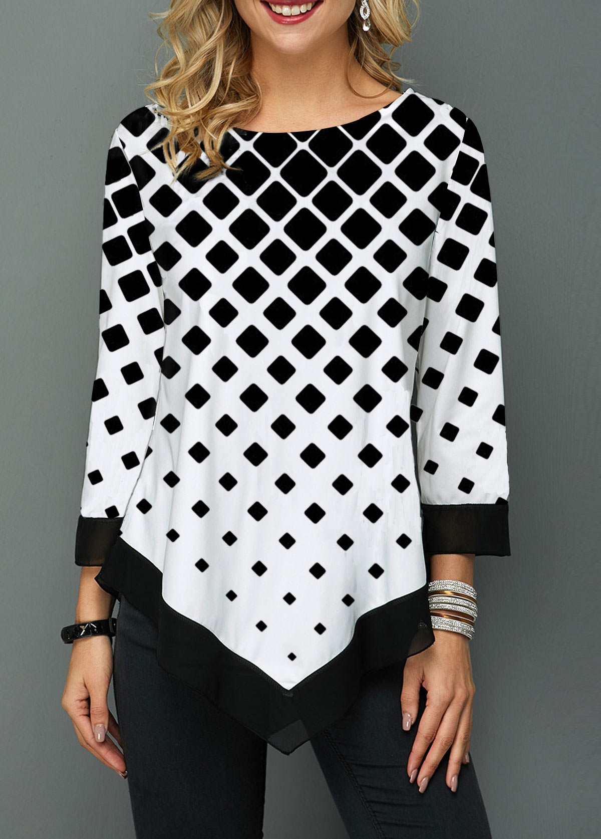 Three Quarter Sleeve Asymmetric Hem Geometric Print Blouse