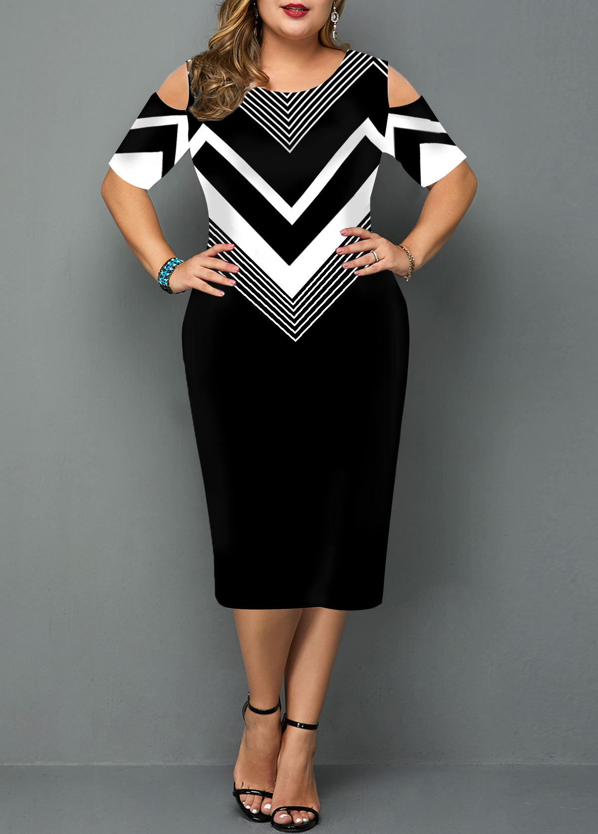 Chevron Print Cold Shoulder Plus Size Dress