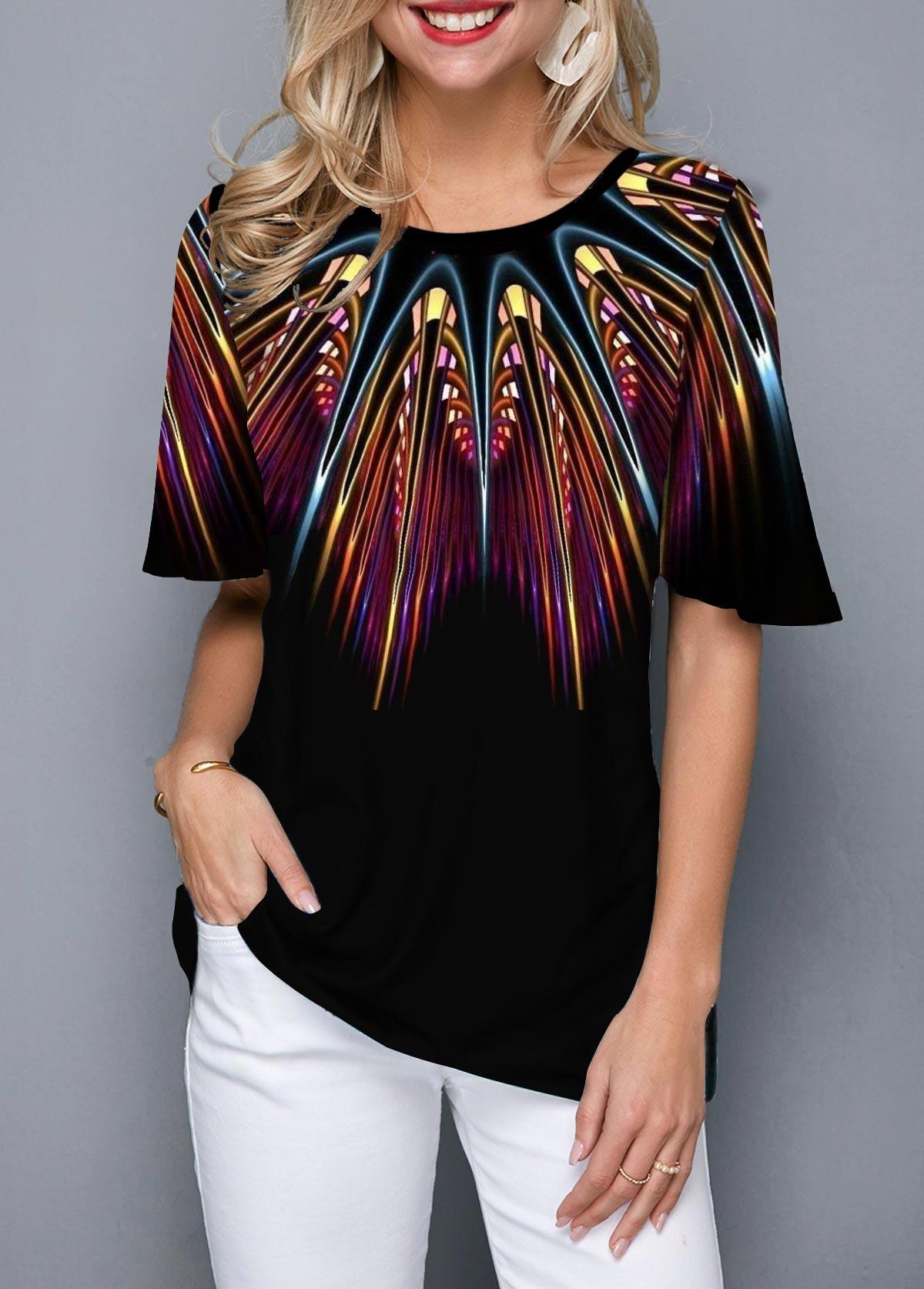 Printed Half Sleeve Round Neck T Shirt