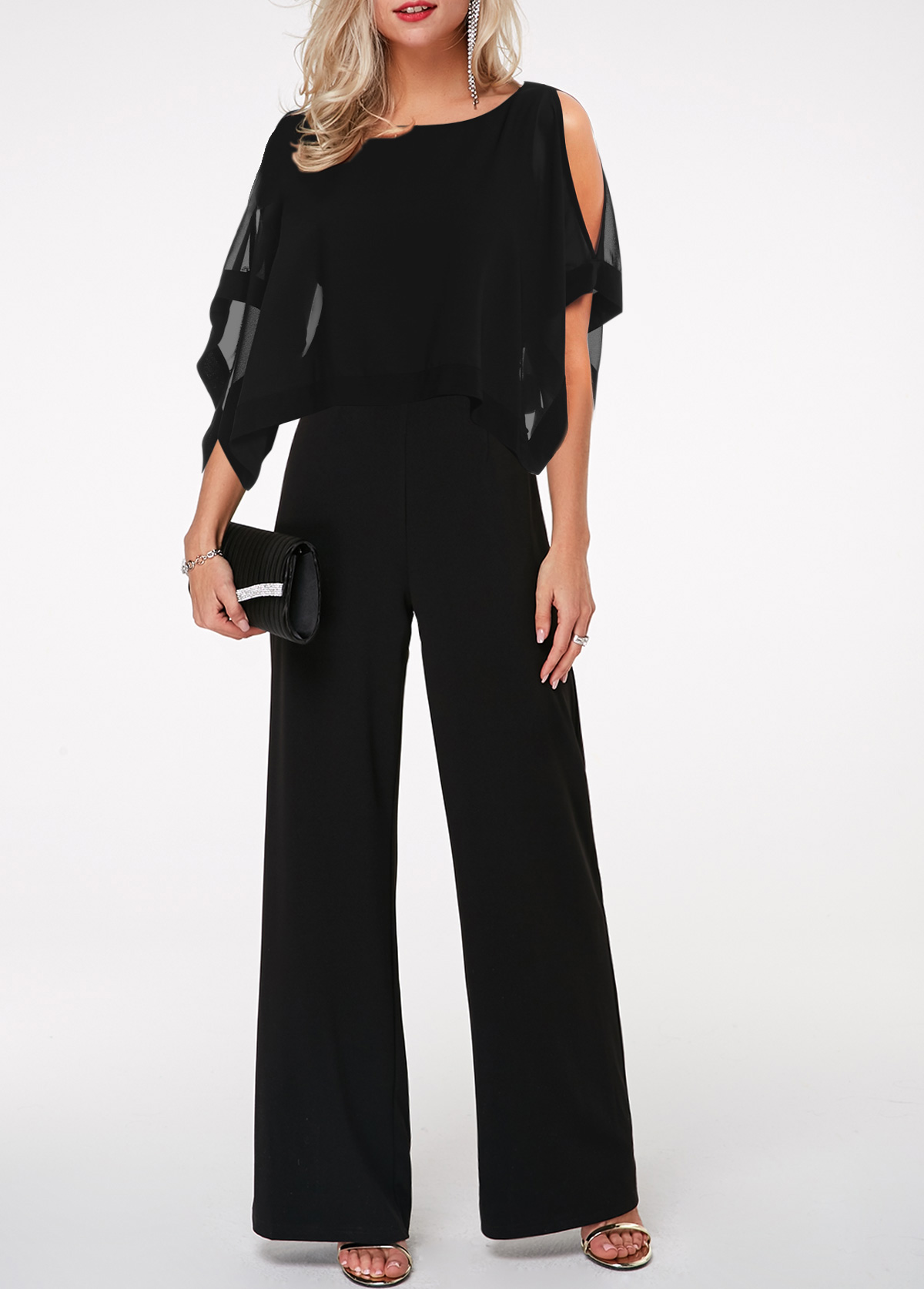 Black Three Quarter Sleeve Cape Shoulder Jumpsuit