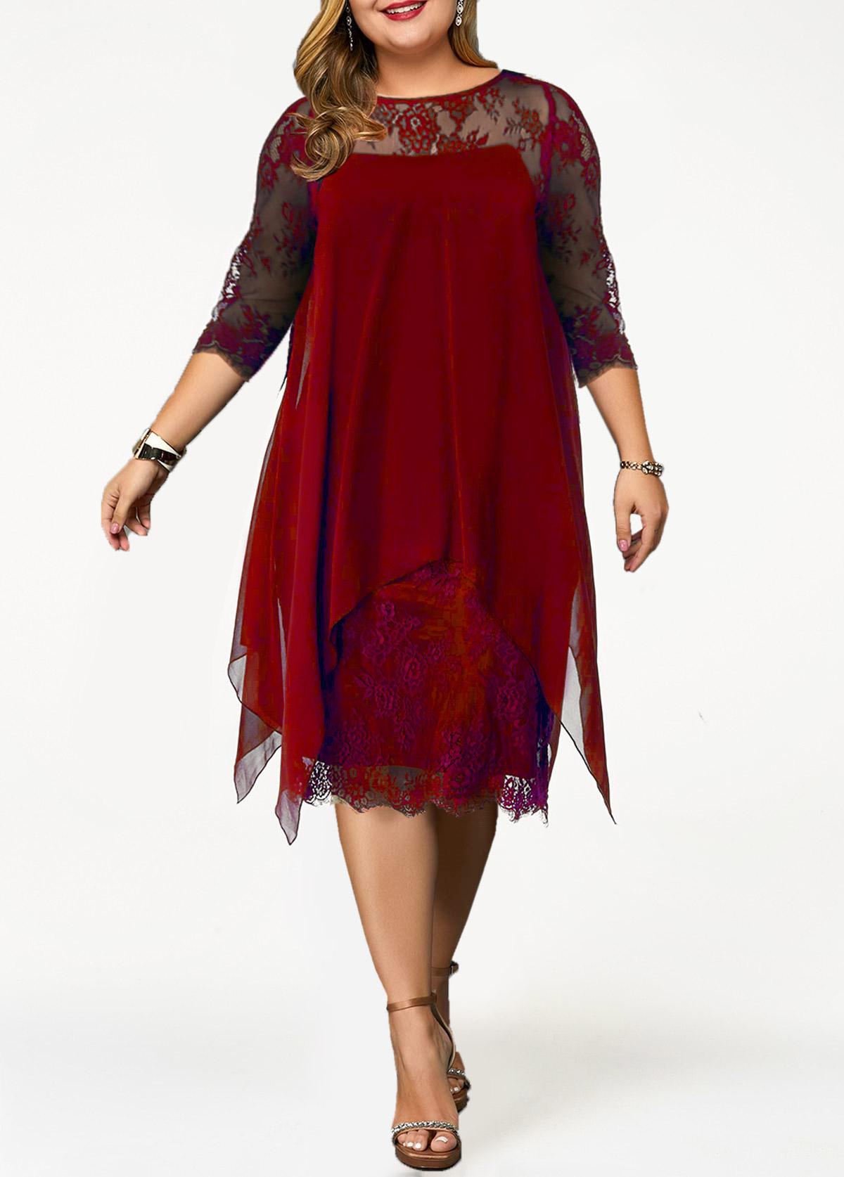 Lace Panel Chiffon Overlay Plus Size Dress