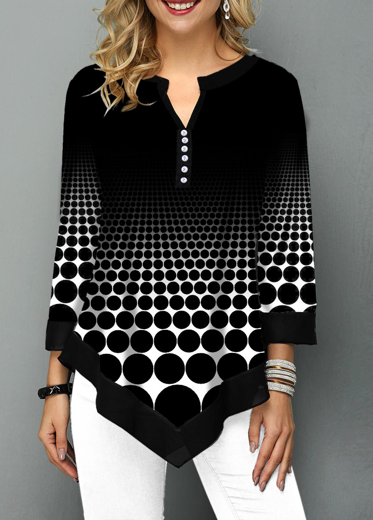 Asymmetric Hem Split Neck Polka Dot Print T Shirt