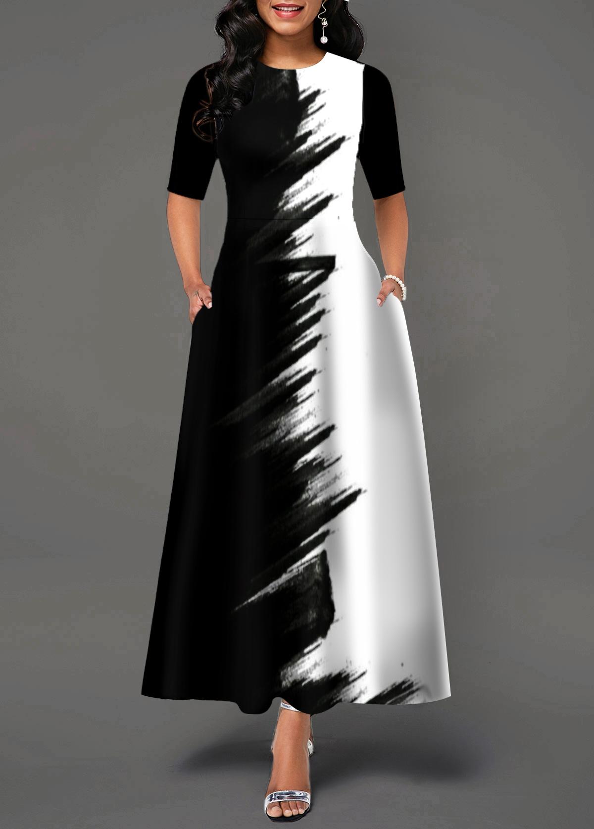 Color Block Half Sleeve Round Neck Maxi Dress