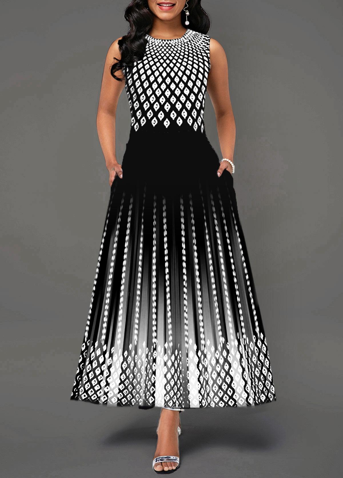 Round Neck High Waist Sleeveless Dress