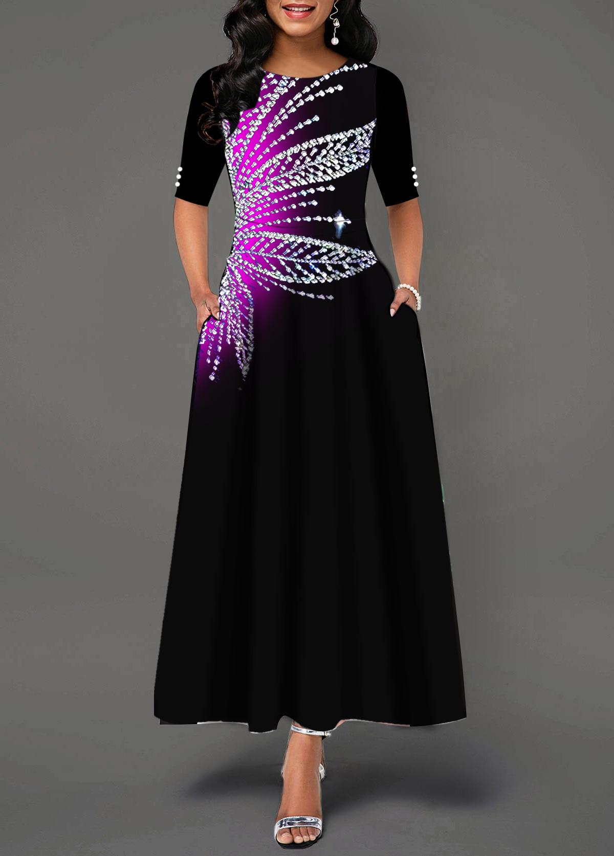 Printed Round Neck Short Sleeve Maxi Dress