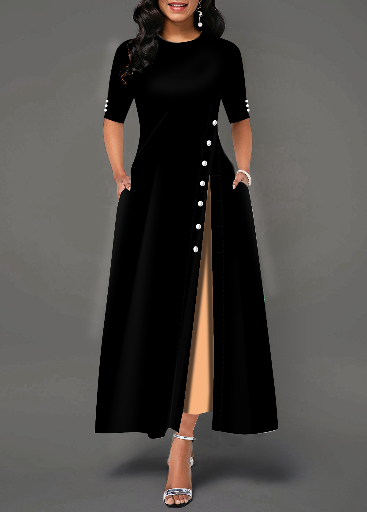 Half Sleeve Side Slit Button Detail Maxi Dress