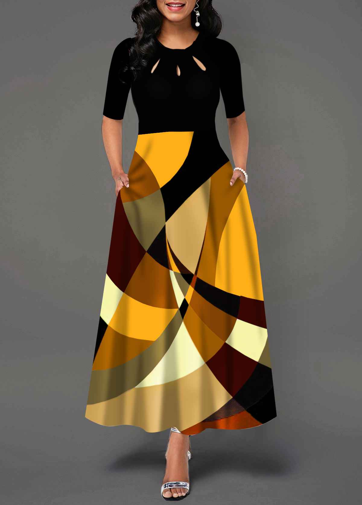 Pocket Geometric Print Half Sleeve Maxi Dress