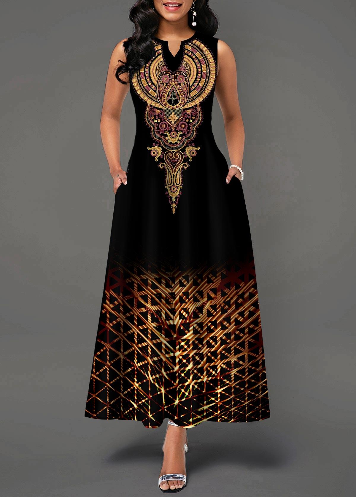 Sleeveless Split Neck High Waist Dress