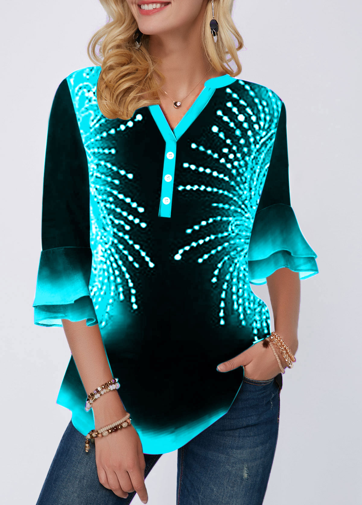 Printed Button Detail Flare Cuff Blouse