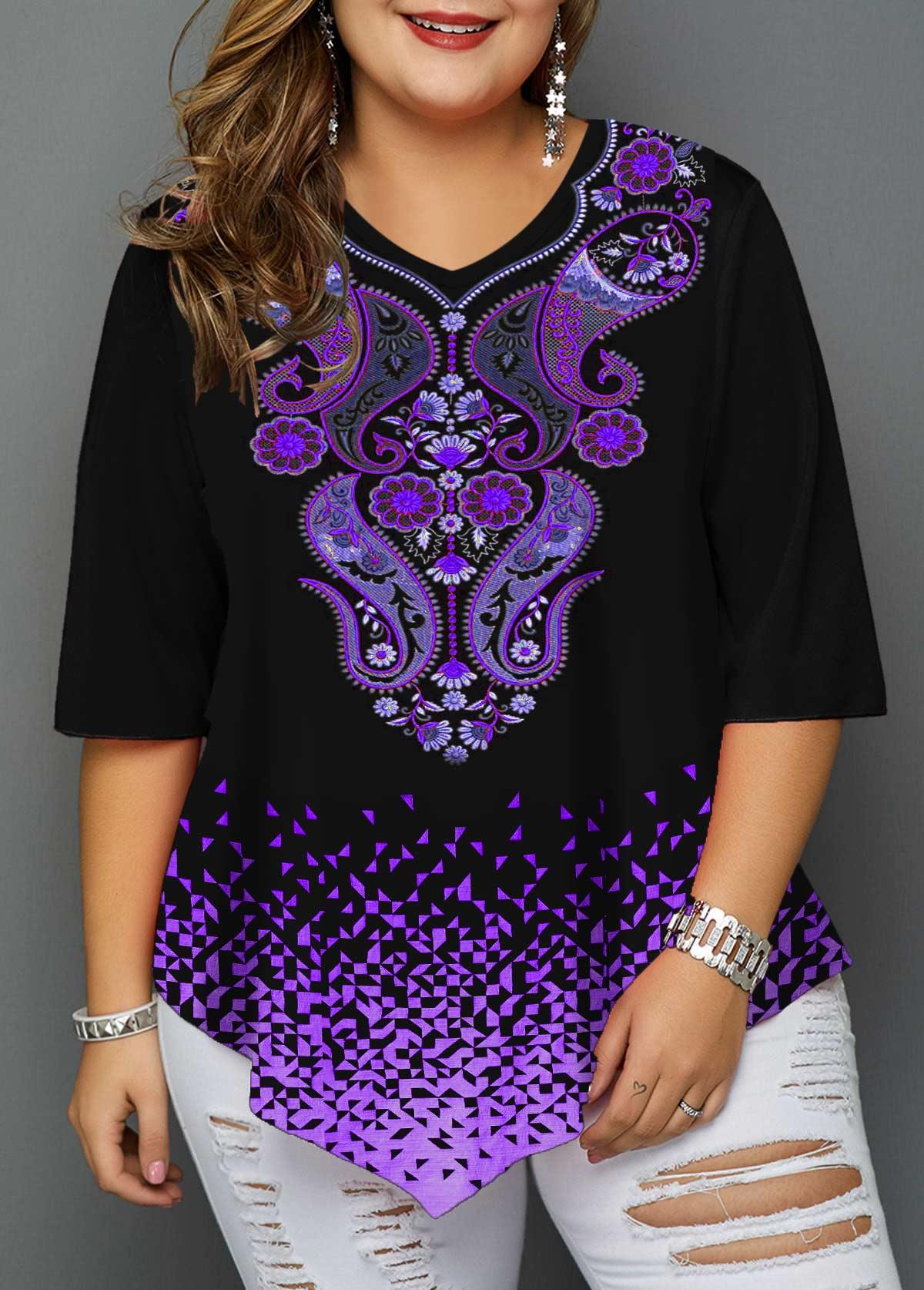 Asymmetric Hem Paisley Print Plus Size T Shirt