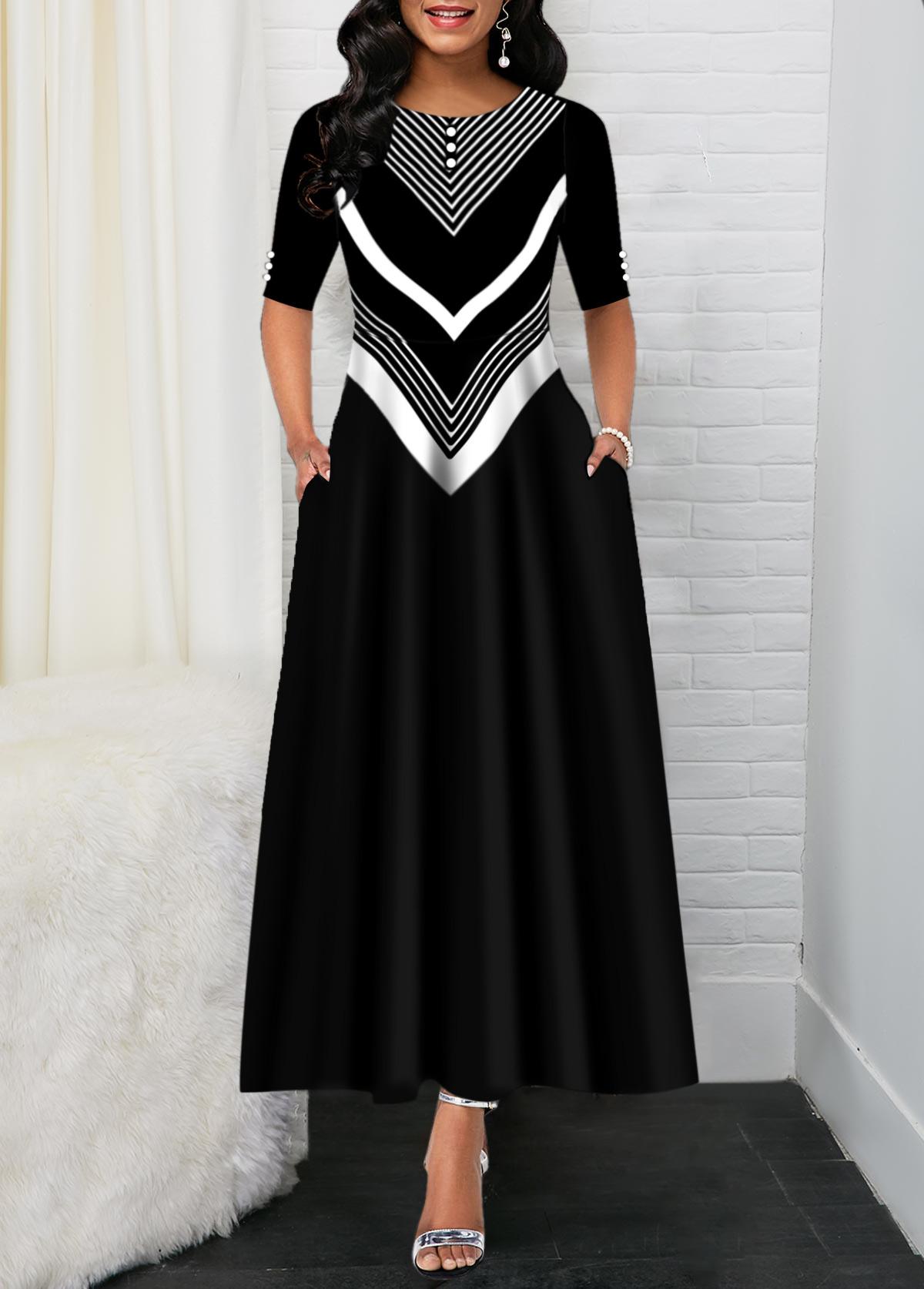 Black Chevron Print Back Zipper Maxi Dress