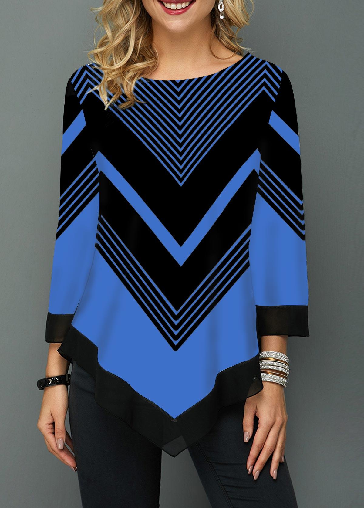 Round Neck Asymmetric Hem Chevron Print T Shirt
