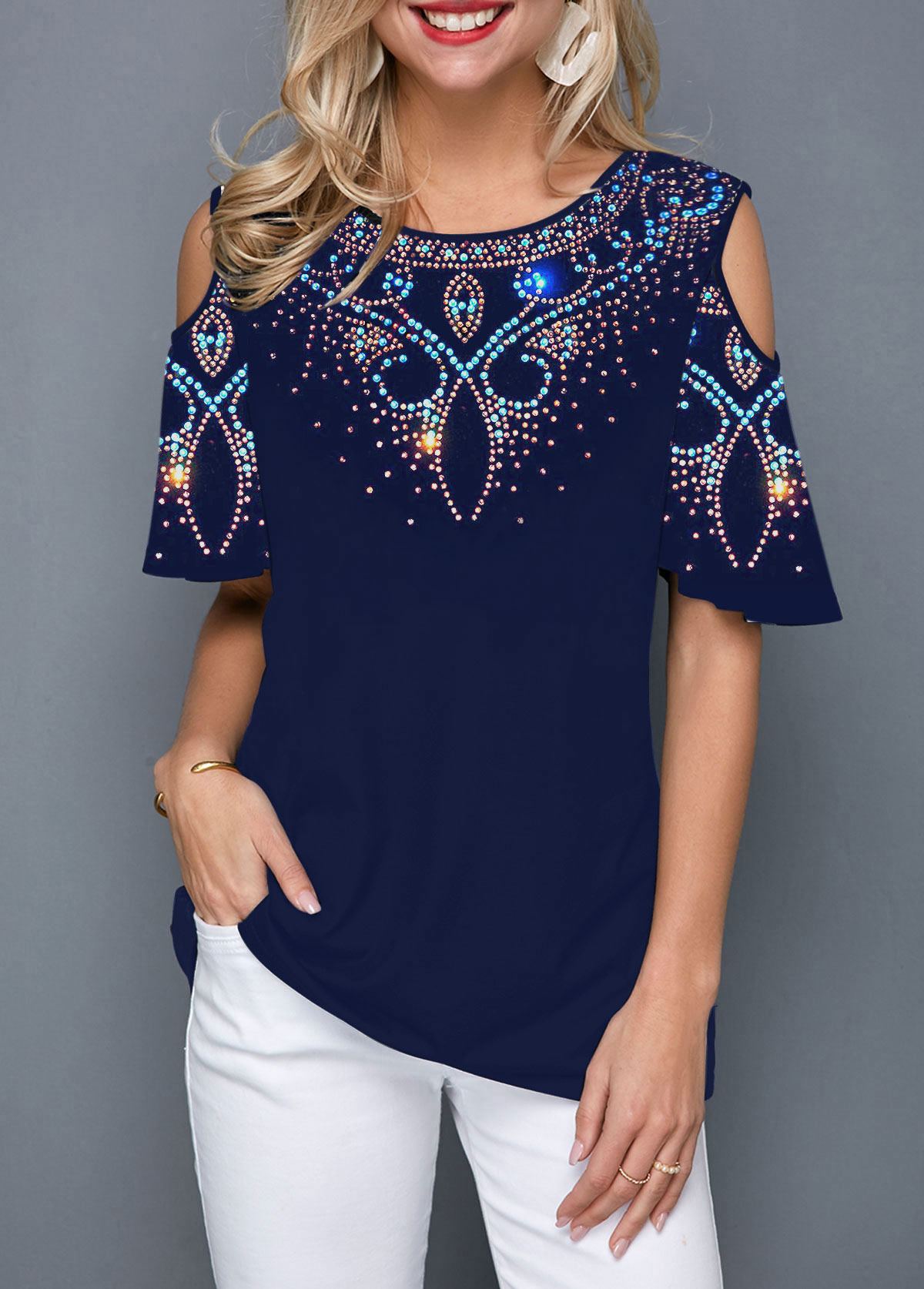 Round Neck Tribal Print Cold Shoulder Blouse