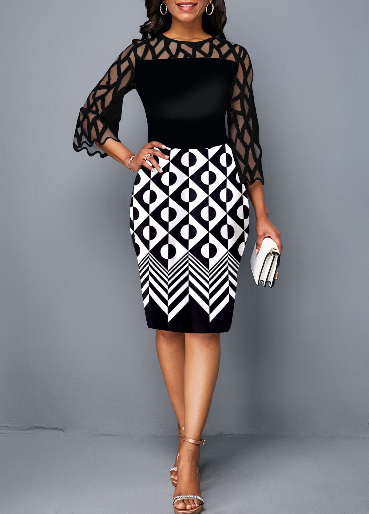 Round Neck Geometric Print Lace Panel Sheath Dress