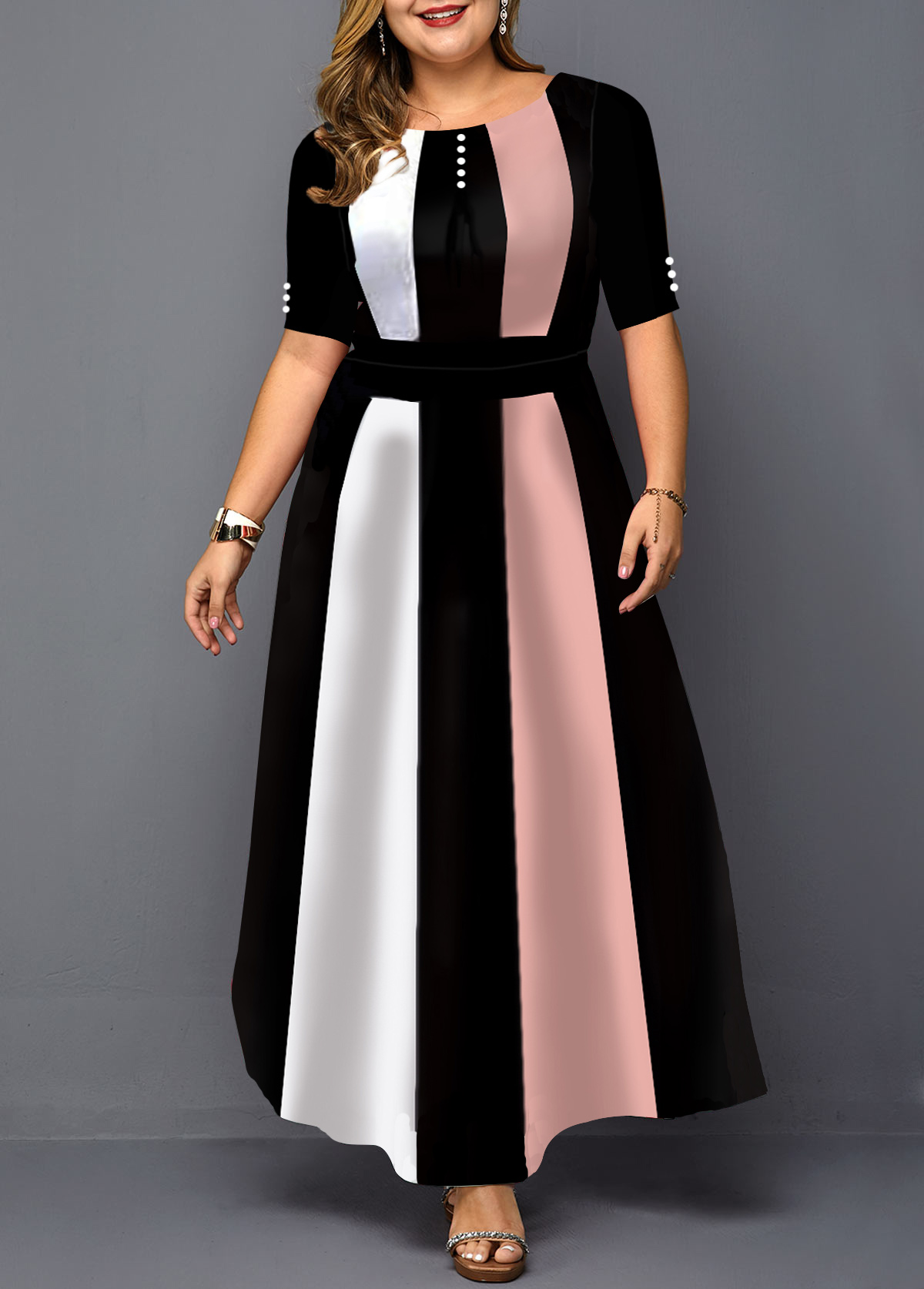 Half Sleeve Plus Size Color Block Maxi Dress