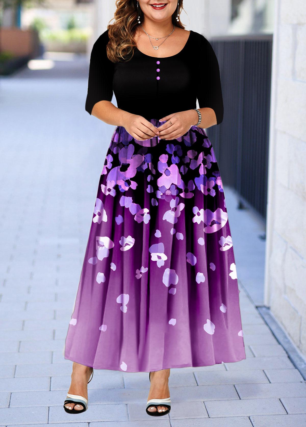 Plus Size Three Quarter Sleeve Button Detail Printed Dress
