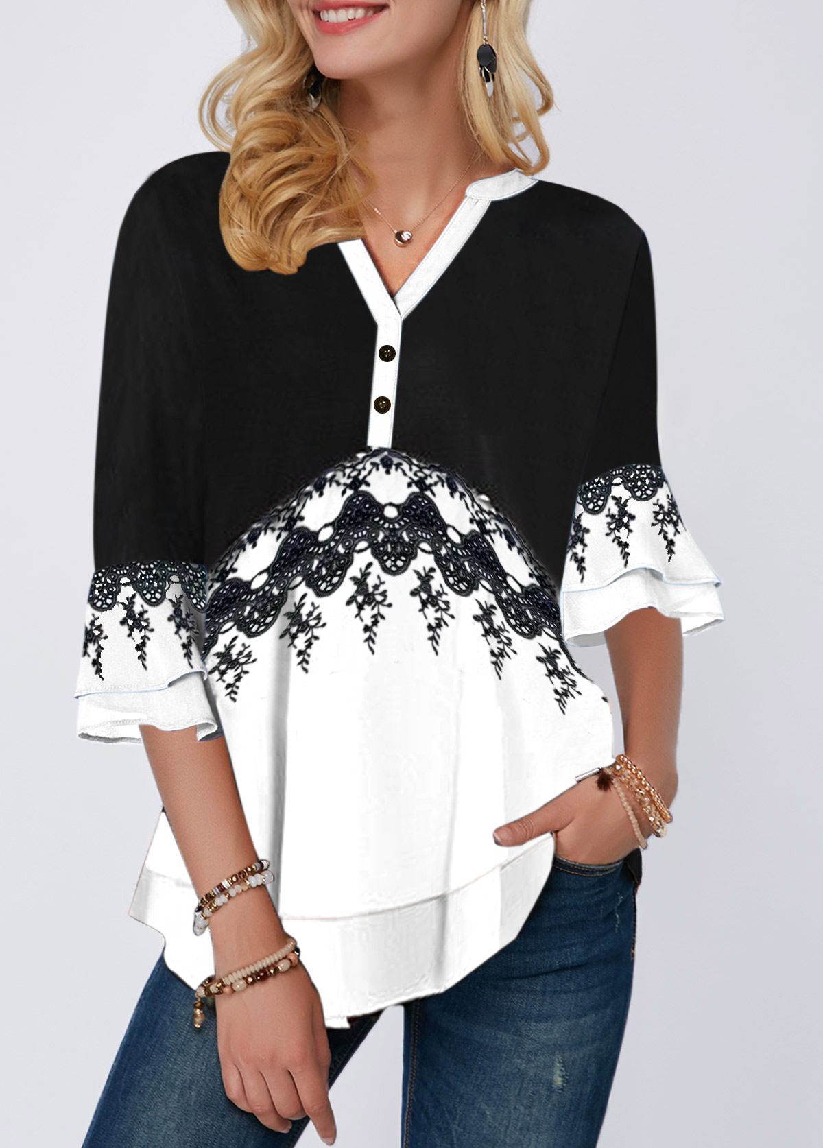 Button Detail Split Neck Layered Bell Sleeve Blouse